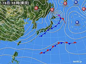 実況天気図(2021年01月16日)