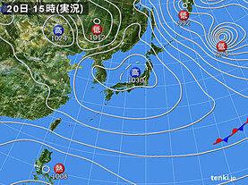 実況天気図(2021年01月20日)