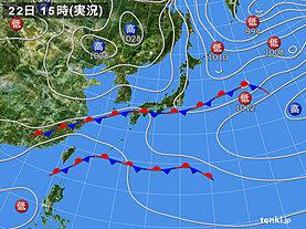 実況天気図(2021年01月22日)