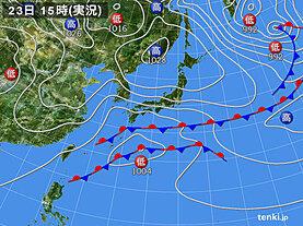 実況天気図(2021年01月23日)