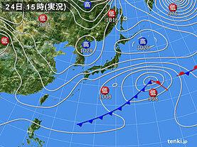 実況天気図(2021年01月24日)