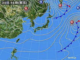 実況天気図(2021年01月25日)