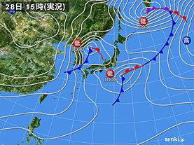実況天気図(2021年01月28日)
