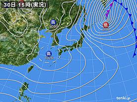 実況天気図(2021年01月30日)