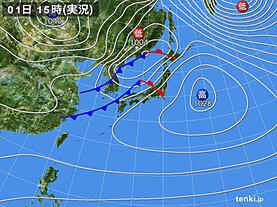 実況天気図(2021年02月01日)