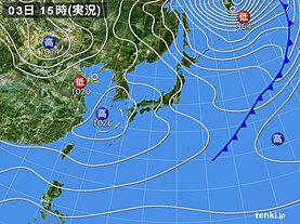 実況天気図(2021年02月03日)