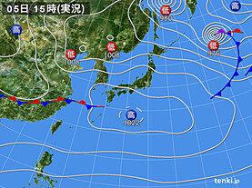 実況天気図(2021年02月05日)