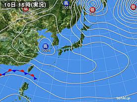 実況天気図(2021年02月10日)