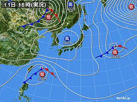 実況天気図(2021年02月11日)
