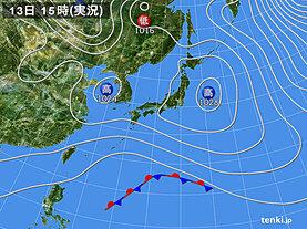 実況天気図(2021年02月13日)