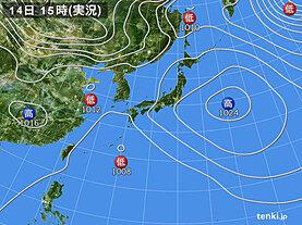 実況天気図(2021年02月14日)