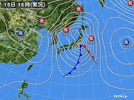 実況天気図(2021年02月15日)