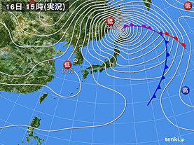 実況天気図(2021年02月16日)
