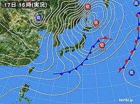 実況天気図(2021年02月17日)