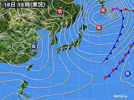 実況天気図(2021年02月18日)
