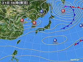 実況天気図(2021年02月21日)