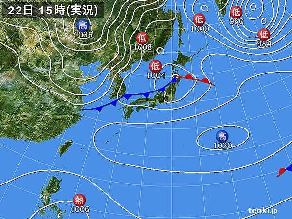 実況天気図(2021年02月22日)