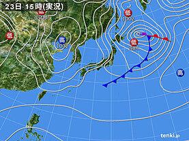 実況天気図(2021年02月23日)