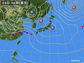 実況天気図(2021年02月25日)