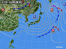 実況天気図(2021年02月27日)