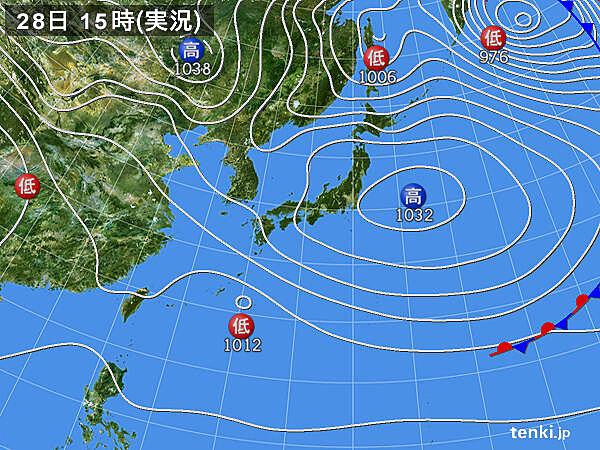 実況天気図(2021年02月28日)