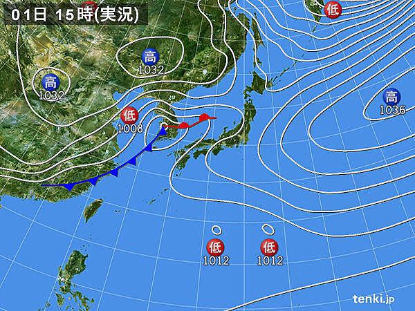 実況天気図(2021年03月01日)