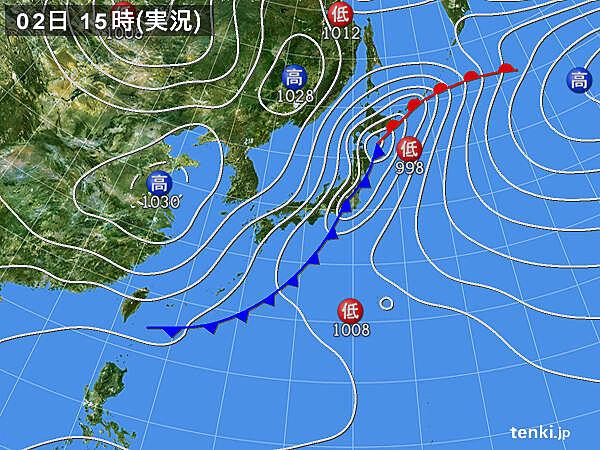 実況天気図(2021年03月02日)