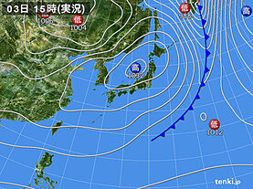 実況天気図(2021年03月03日)