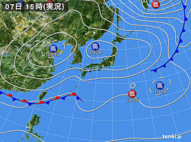 実況天気図(2021年03月07日)
