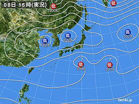 実況天気図(2021年03月08日)