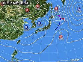 実況天気図(2021年03月10日)