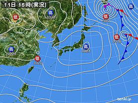 実況天気図(2021年03月11日)
