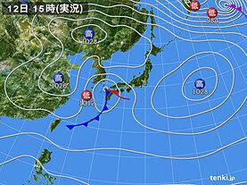 実況天気図(2021年03月12日)