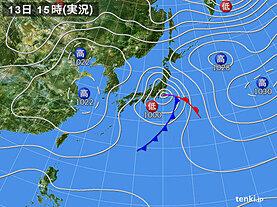 実況天気図(2021年03月13日)