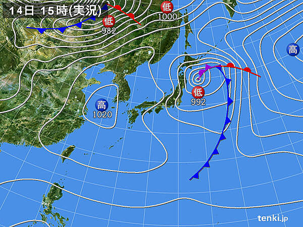 実況天気図(2021年03月14日)
