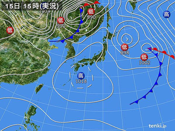 実況天気図(2021年03月15日)