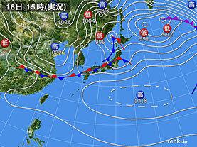 実況天気図(2021年03月16日)