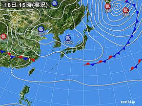 実況天気図(2021年03月18日)