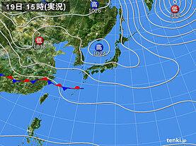 実況天気図(2021年03月19日)