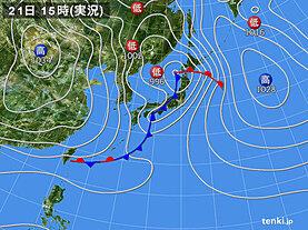 実況天気図(2021年03月21日)