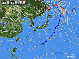 実況天気図(2021年03月22日)