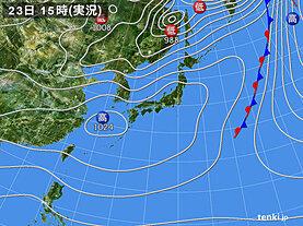 実況天気図(2021年03月23日)