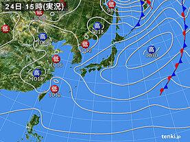 実況天気図(2021年03月24日)