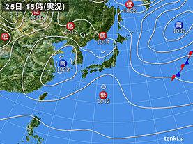 実況天気図(2021年03月25日)