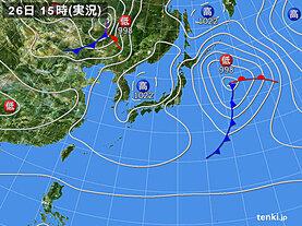 実況天気図(2021年03月26日)