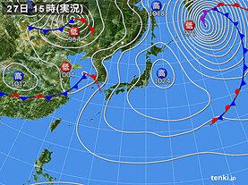 実況天気図(2021年03月27日)