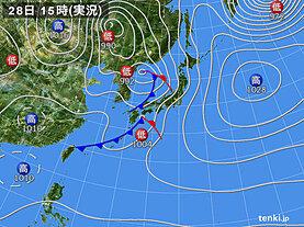 実況天気図(2021年03月28日)