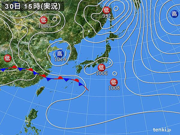実況天気図(2021年03月30日)