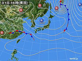 実況天気図(2021年04月01日)