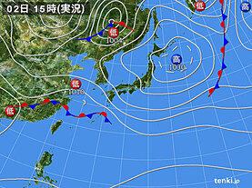実況天気図(2021年04月02日)